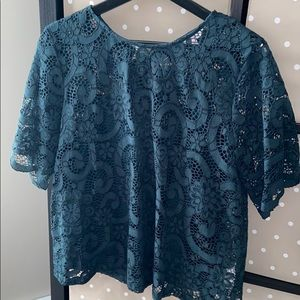 Dark Green Lace Top